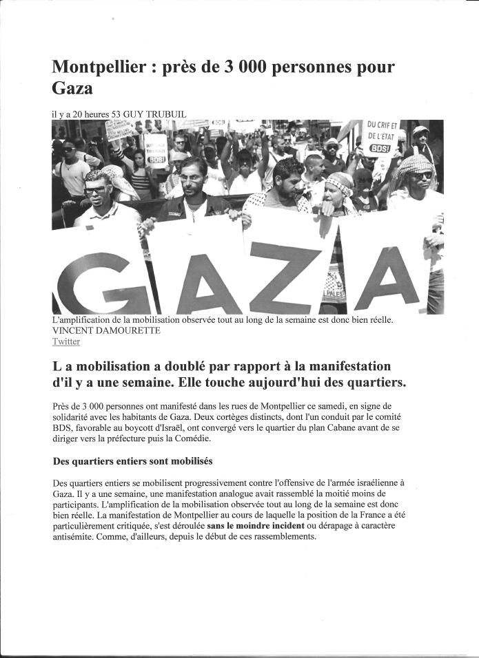 Article Midi Libre Manif du 26 07 2014