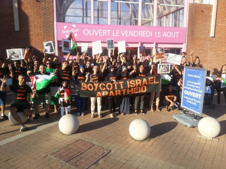 Pour Gaza: 50 personnes dans l'action boycott à Carrefour (Montpellier) le 13 août