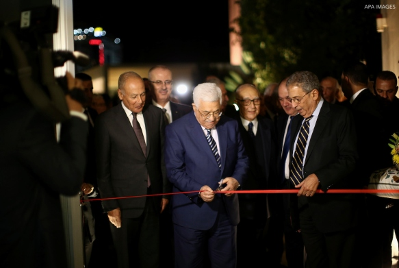 Palestinian President Mahmoud Abbas opens the museum of late Palestinian leader Yasser Arafat with Secretary General of the Arab League Ahmed Aboul Gheit and former Secretary-General of the Arab League Amr Mousa